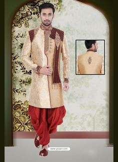 Enchanting Beige Party Wear Sherwani Model: YOSHV933