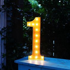 "24"" 1 One Number Marquee Light from The Rusty Marquee"