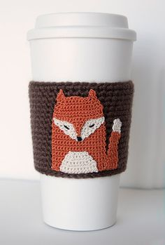 Red Fox Cozy cup cozy coffee cozy crochet sleeve by TableTopJewels, $20.00