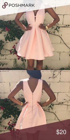 Simple A-Line V-Neck Sleeveless Pink Short Homecoming Dress With Pleats Spring Formal Dresses, Hoco Dresses, Junior Dresses, Flower Dresses, Dresses For Teens, Satin Dresses, Dance Dresses, Pretty Dresses, Homecoming Dresses