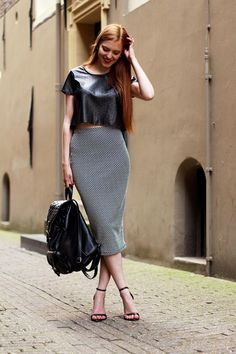 pencil midi and leather crop top