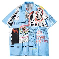 Letters Painting Graphic Print Casual Shirt - Graphic Shirts - Ideas of Graphic Shirts - Style: Fashion Material: Polyester Sleeves Length: Short Collar: Turn-down Collar Pattern Type: GraphicLetter Season: Summer Graphic Shirts, Printed Shirts, Custom Clothes, Diy Clothes, Casual Shirts For Men, Men Casual, Comfy Casual, Mens Shirts Online, Cute Shirts