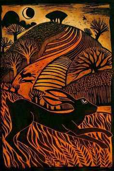 """Leaping Hare"" by Ian MacCulloch (woodcut) Just love the fields and the colours"