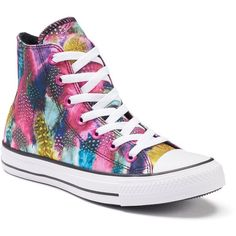 Women's Converse Chuck Taylor All-Star Feathers High-Top Sneakers,... ($50) ❤ liked on Polyvore featuring shoes, sneakers, pink, converse shoes, lace up sneakers, converse trainers, high top shoes and lace shoes