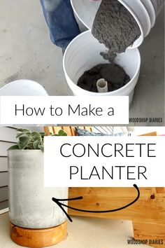 Diy Concrete Planters, Mix Concrete, Concrete Projects, Diy Planters, Spring Projects, Diy Projects, Cement Flower Pots, Pallet Patio Furniture, Plastic Buckets
