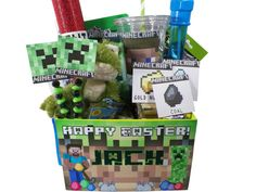 Minecraft easter basket easter pinterest minecraft baskets minecraft easter party basket box by epicevent on etsy 3495 negle Images
