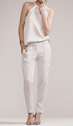 ANN TAYLOR CREPE CARGO PANTS - WHITE - SIZE 8 PETITE #AnnTaylor #Cargo