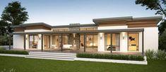 Yallingup Retreat Farmhouse Home Design Flat Roof House, Facade House, Bungalow House Design, Modern House Design, Bungalow Ideas, Dream House Plans, Modern House Plans, Ventura Homes, Farmhouse Floor Plans