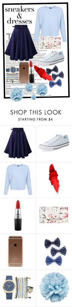 """""""The Blues"""" by the-crazy-dog-lover ❤ liked on Polyvore featuring Balmain, Converse, Maybelline, MAC Cosmetics, Ivanka Trump, Mixit and Gucci"""