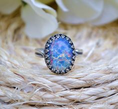 Hey, I found this really awesome Etsy listing at https://www.etsy.com/listing/252799433/antique-silver-blue-opal-ring