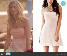 Caroline's light pink strapless pleated dress on The Vampire Diaries.  Outfit Details: http://wornontv.net/52555/ #TheVampireDiaries