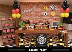 Hot Wheels Party, Festa Hot Wheels, Hot Wheels Birthday, Cars Birthday Parties, Diy Birthday, Blaze Monster Machine, Baptism Themes, Candy Car, Construction Birthday