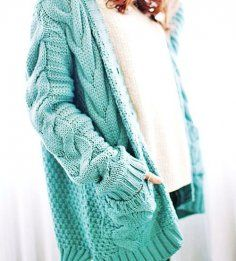 Chunky Cable Knit Oversized Cardigan Sweater -