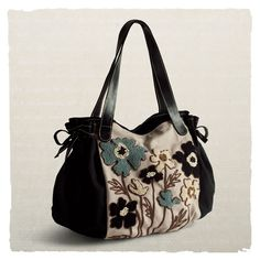 Handbag With Embroidered Flowers - Arhaus Jewels