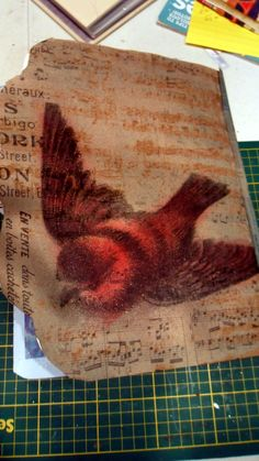 back cover using Tim Holtz resist kraft paper and distress ink