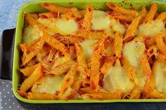 Paste la cuptor, cu rosii si mozzarella - CAIETUL CU RETETE Mozzarella, Paste, Cabbage, Cooking Recipes, Vegetables, Food, Meal, Cooker Recipes, Essen