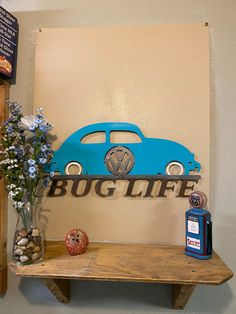 """Excited to share this item from my shop: Volkswagen Beetle """"Bug Life"""" metal sign Beetle Bug, Vw Beetles, Olaf Drawing, Scrap Material, Yard Art, Before Christmas, Metal Signs, Metal Art, Toy Chest"""