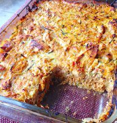 Paleo Chicken Spaghetti Squash Pizza   Casserole (leftovers for lunch, reheated)