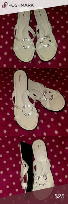 Lane Bryant White Strap Wedge Sandals Lane Bryant White Strap Wedge Sandal. Women's Size 11W. Only Worn Once! Shoes are bright white. All the studs on the ring are still in place. Lane Bryant Shoes Sandals