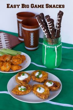 Easy Snacks for the big game party!  Have your house stocked with these appetizer ideas and grab the recipe to make these fun football pretzel and vase idea. Great all football season long.
