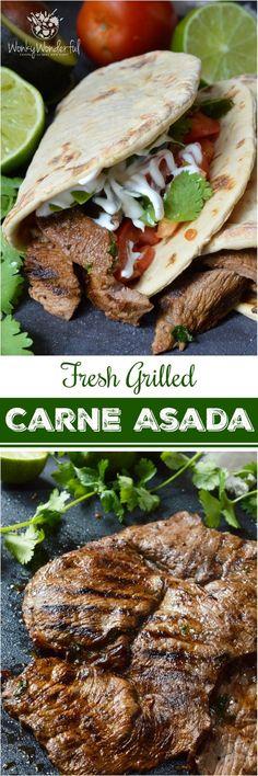 Nothing beats a great Carne Asada Recipe for the summertime grill season! This Carne Asada is made with thinly sliced round tip steak marinated in orange, lime, cilantro and garlic. Perfect for wraps, tacos, burrito bowls or any Mexican food dish you can Mexican Food Dishes, Beef Dishes, Mexican Food Recipes, Ethnic Recipes, Grilling Recipes, Meat Recipes, Dinner Recipes, Cooking Recipes, Healthy Recipes