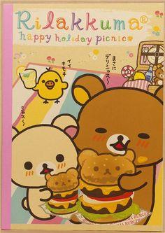 Rilakkuma bear picnic notepad exercise book with hamburger