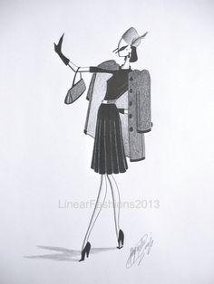 Fashion illustration 1940s wool coat original by LinearFashions, $40.00