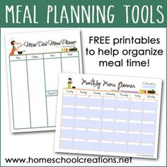 FREE meal planning printables: Meal planning can be EASY! Here are two tools that will help quickly organize meals and make planning simple.