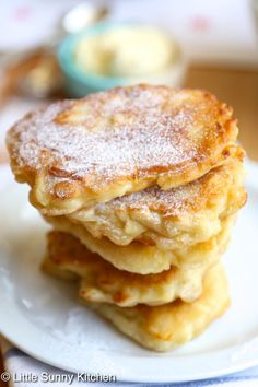 Polish apple pancakes made of apples dipped into pancake batter, then fried in butter and topped with powdered sugar or a sweet syrup of your choice!