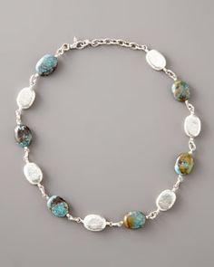Y0R6E Gurhan Turquoise & Silver Pebble Necklace