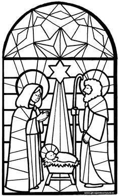 Kleurplaat kerst - Kerkraam Jezus in een voederbak met Maria en Jozef - GKV Apeldoorn-Zuid