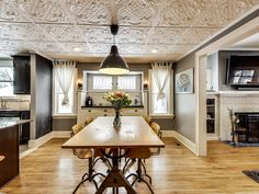 Warning: You may find it hard to focus on the food when your dining room ceiling is this beautiful! Home Improvement, New Homes, Room Decor, Ceiling, House Design, Traditional, Table, Furniture, Beautiful