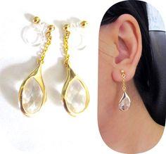 Drop Crystal Rhinestone Clip on Earrings BA3 Dangle by boadNNcraft