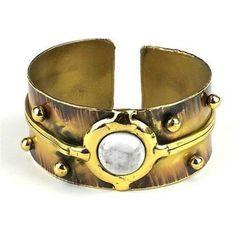 Howlite Disk Brass Cuff - Brass Images (C)