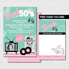 50's Retro Style BIRTHDAY or ANNIVERSARY INVITATIONS + BONUS Thank You Card (printable files) - by nowanorris on Etsy