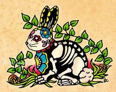 Day of the Dead TURTLE Mexican Folk Art Dia de by illustratedink