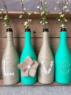 Yarn wrapped bottles wrapped bottles shabby chic by HomeEcQueen #shabbychicdecorrustic