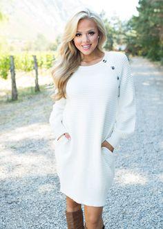 Inside Your Heaven Long Sleeve Dress White - Modern Vintage Boutique