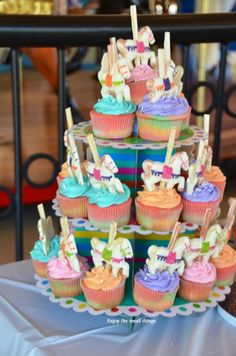 Beautiful Rainbow Carousel First Birthday Cupcakes