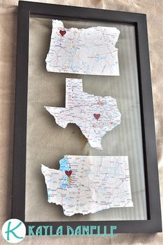 State map framed art for places close to your heart