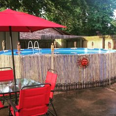 Bamboo fencing above ground pool