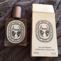 Diptyque Olene Reposhing... I'm just not a fan of this one. Notes : wisteria, narcissus, jasmine, honeysuckle. Described as a romantic night in Venice. 1.7 oz little over half full. Diptyque Accessories