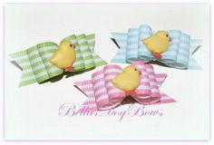 5/8 Easter Chick Double Loop Dog Bow by BellasDogBows, $6.99 USD