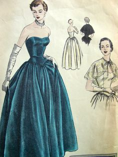 1950s STRAPLESS Eevening Gown Vintage VOGUE Special Design Sewing Pattern 4048 - Bust 32 - with Label