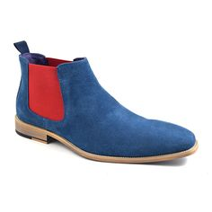 Need vibrancy? Find mens blue and red suede chelsea boots that are stylish and affordable at A pop of colour in a dull world! Free del too. Purple Leather, Blue Suede, Suede Chelsea Boots, Leather Dress Shoes, Plain Black, Male Fashion, Work Clothes, Daisies, Street Fashion