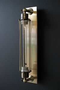 Antiqued Brass Tall Sconce Wall Light supplied with bulb