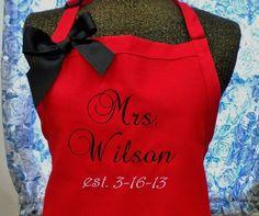 efe47eabd2f2 Personalized Bridal Apron Monogrammed Wedding Gift. Pampered Chef ...