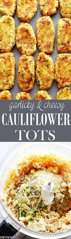 Garlicky & Cheesy Carrots and Cauliflower Tots | www.diethood.com | Baked, crispy, garlicky, and cheesy tots made of cauliflower and carrots.