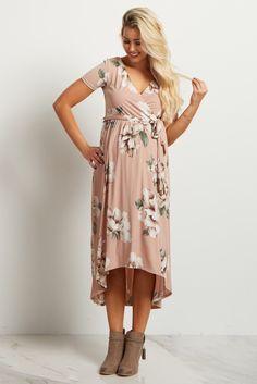 ba5d0ad5f0d Light Pink Floral Hi Low Midi Maternity Nursing Dress