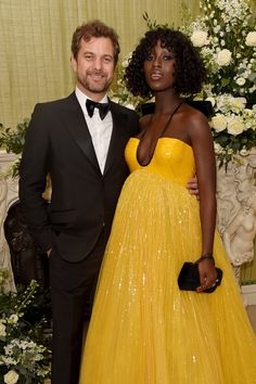 BAFTAs Pregnant Jodie Turner-Smith is radiant in a yellow gown with husband Joshua Jackson First Mothers Day, Happy Mothers Day, Gucci Gown, Strapless Dress Formal, Prom Dresses, Yellow Gown, Celebrity Babies, Celebs, Celebrities